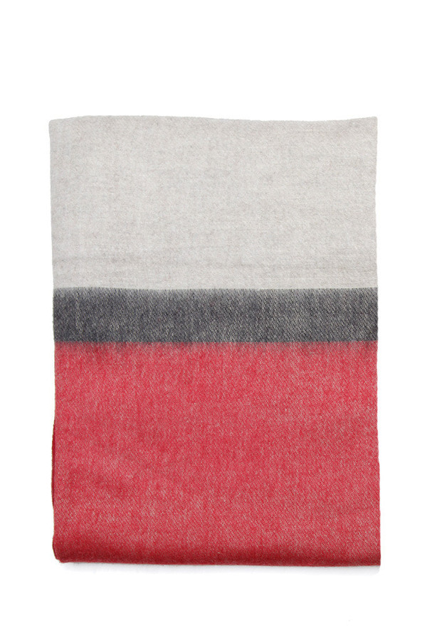 Alpaca Blanket Red Charcoal Stripe