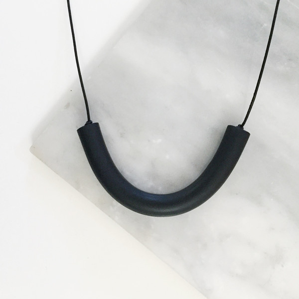 Sea + Pattern - Black Bar Necklace
