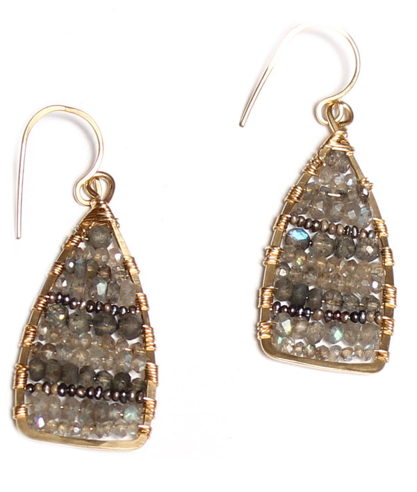 James and Jezebelle Labradroite & Pearl Wire Earrings (med)