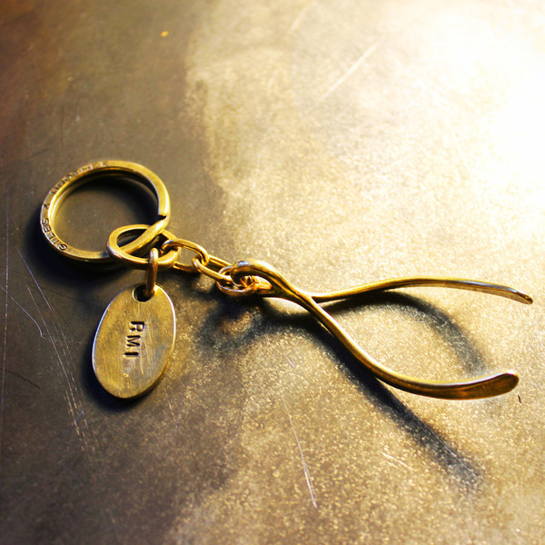 Giles & Brother Brass Wishbone Keyring