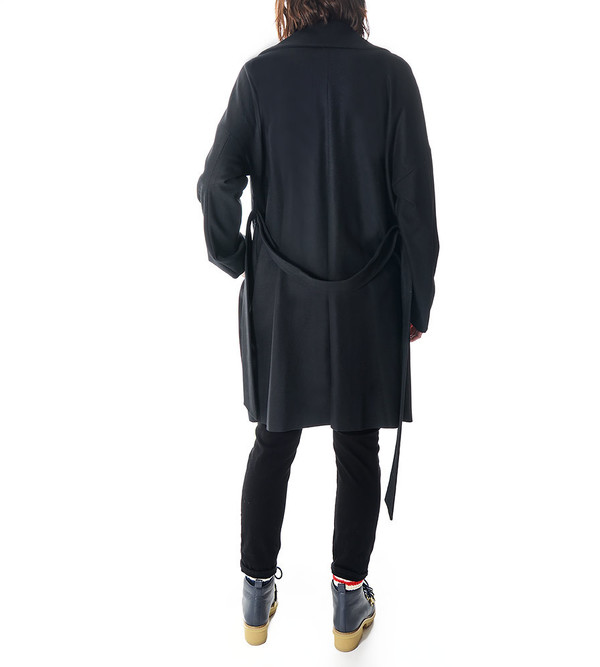 08sircus Black Wool Coat with Belt