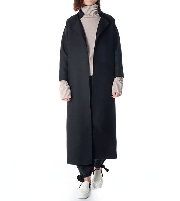 Charlie May Black Wool/Felt Kimono Coat
