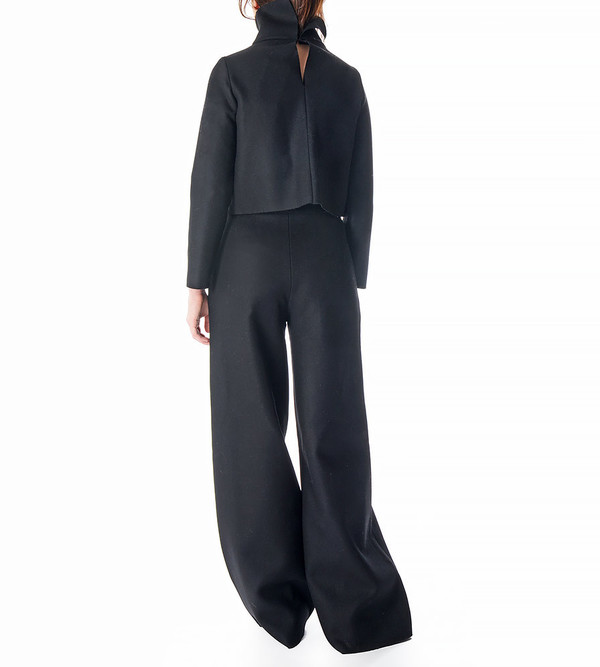 Charlie May Black Wool/Felt Wide Leg Trousers