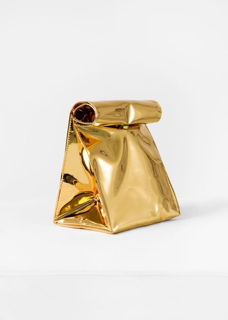 S M K Gold Foldover Bag