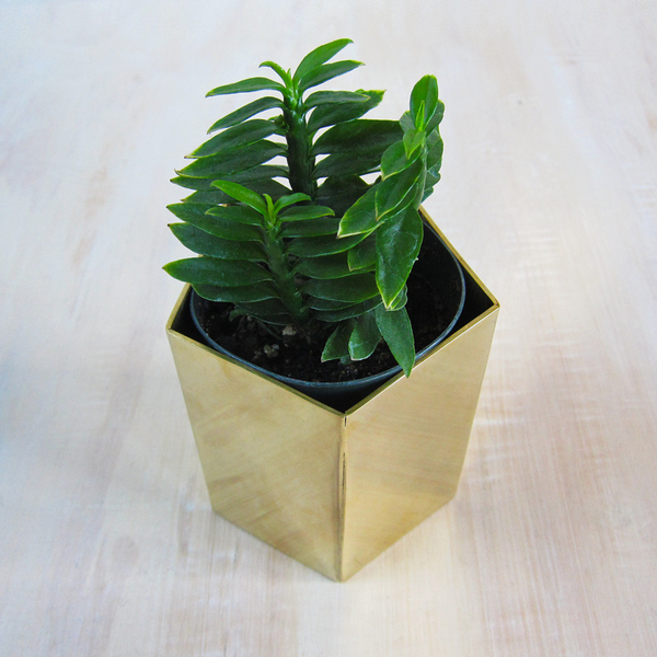 solid brass geometric planter