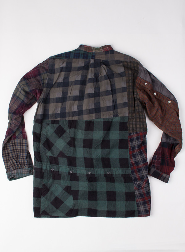 Band Collar Flannel Black Overdye (LARGE B)