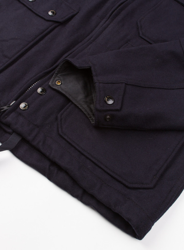 Men's Engineered Garments Cruiser Parka Dk Navy 20oz Wool Melton