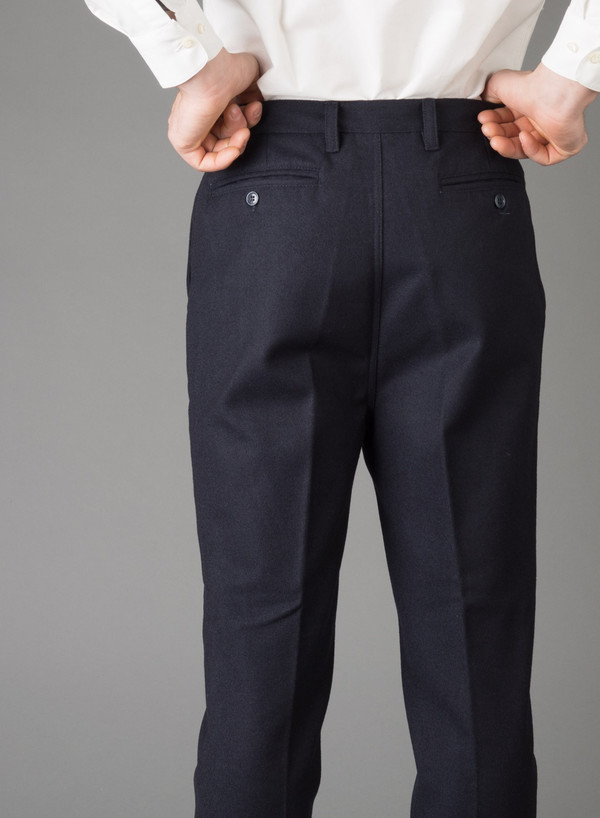 Men's Camo Cucchiaio Classic Trousers Navy Wool