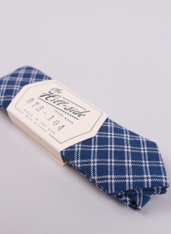 Men's The Hill-Side Double Windowpane Bow Tie Indigo