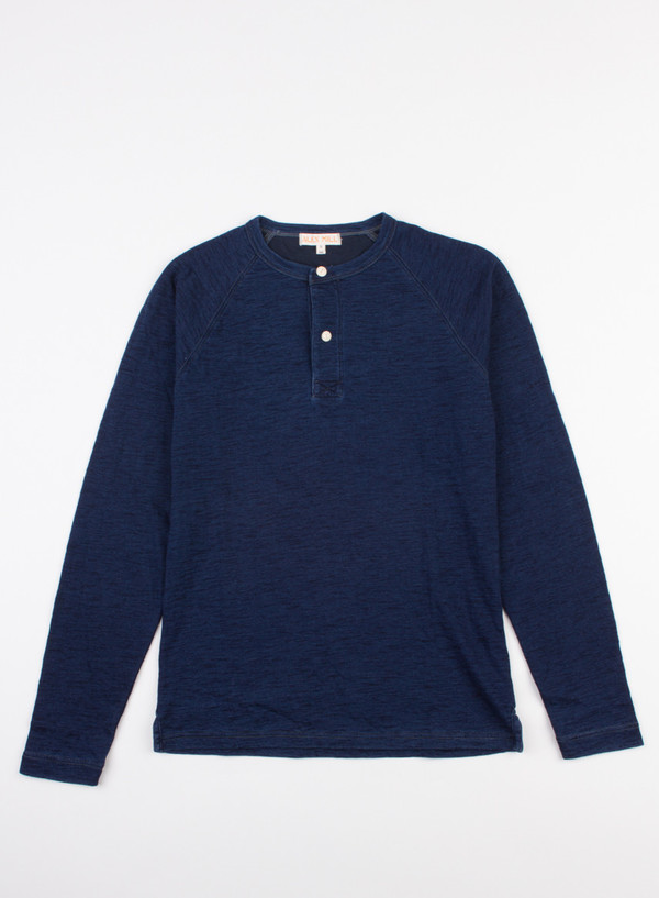 Men's Alex Mill Indigo Double Knit Henley