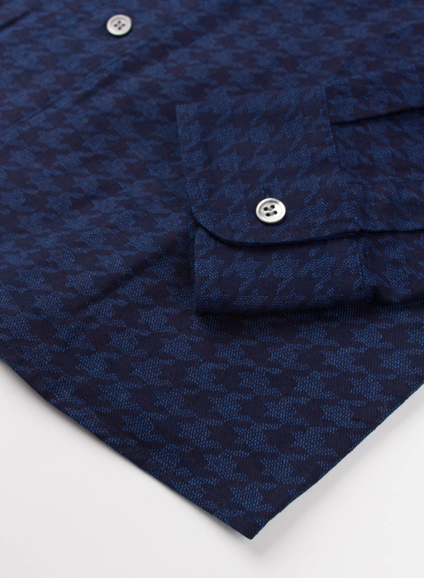 Men's Blue Blue Japan Indigo Houndstooth Flannel Over Printed Shirt