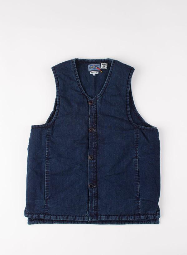 Men's Blue Blue Japan Indigo Puffy Over Vest