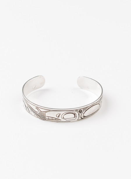 Men's MAPLE Orca & Salmon Bangle Silver 925