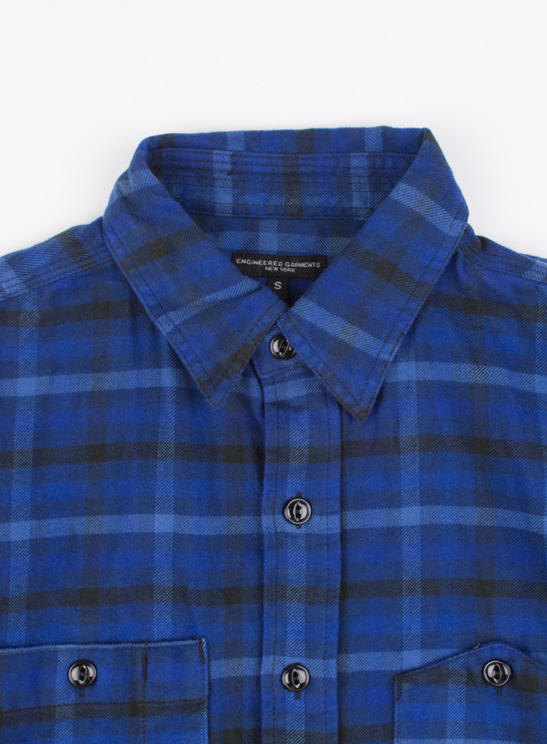 Work Shirt Blue/Navy Brushed Plaid