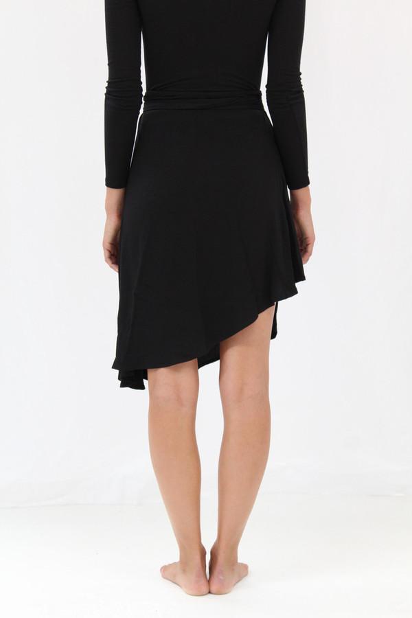 Black Crescent Wrap Skirt