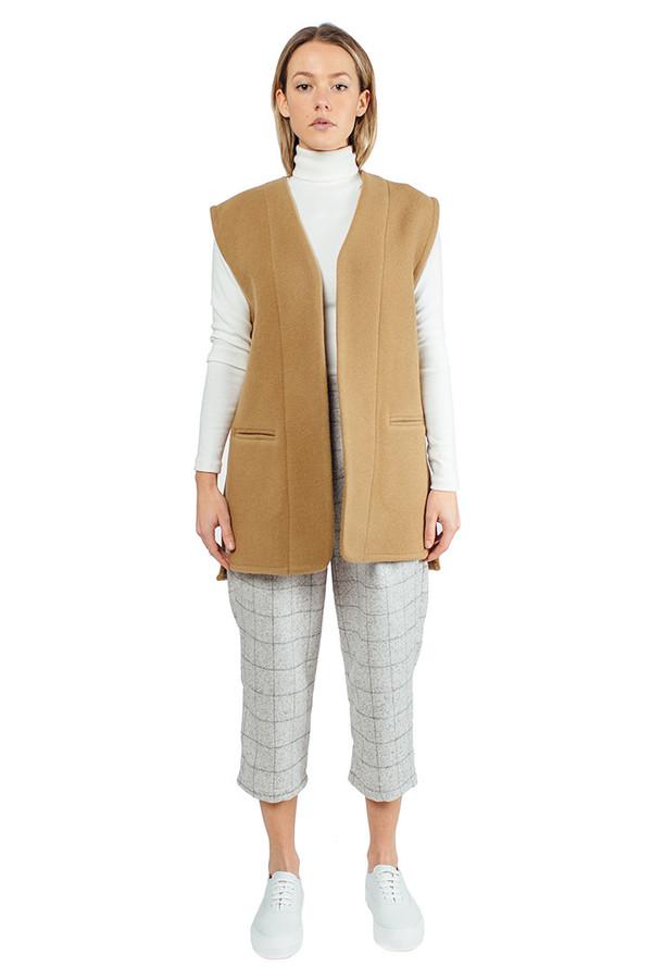 WU+SEN Frise Wool Vest Camel