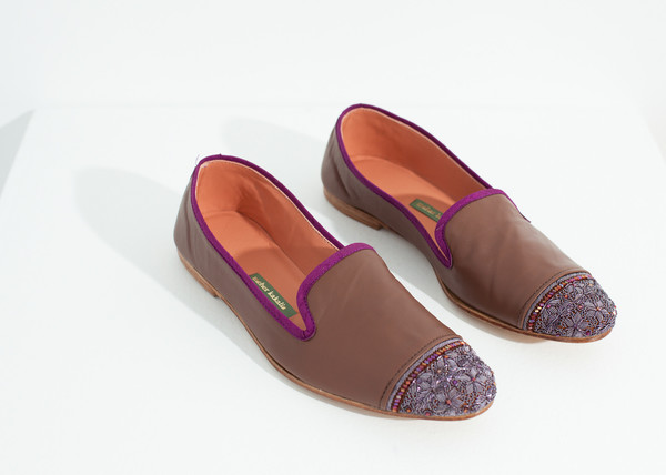 Meher Kakalia Bizi Cap Toe Loafer in Rose/Aubergine