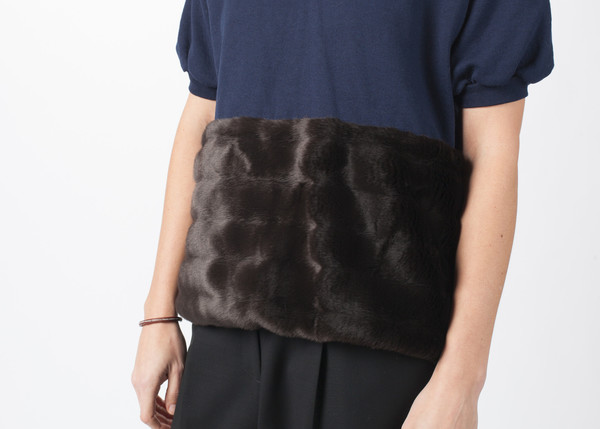 Harvey Faircloth Fur Short Sleeve Sweater