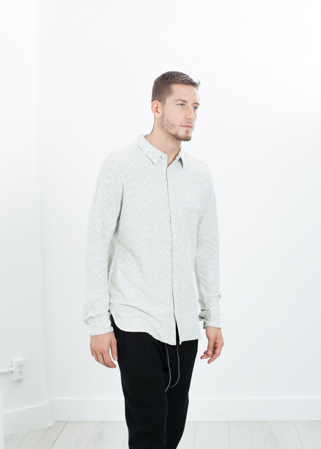 Men's V:Room Kasuri Jersey Button-Up in Ivory/Black