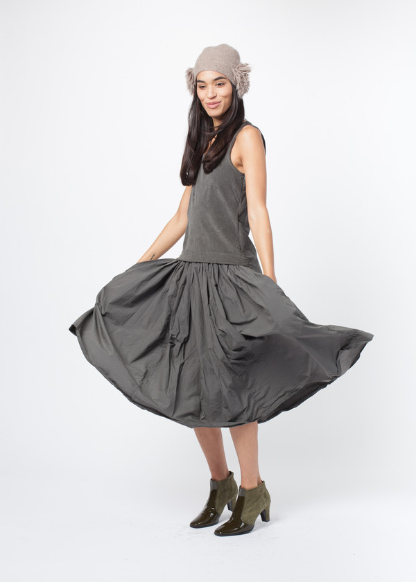 Mixed Material Pleat Dress