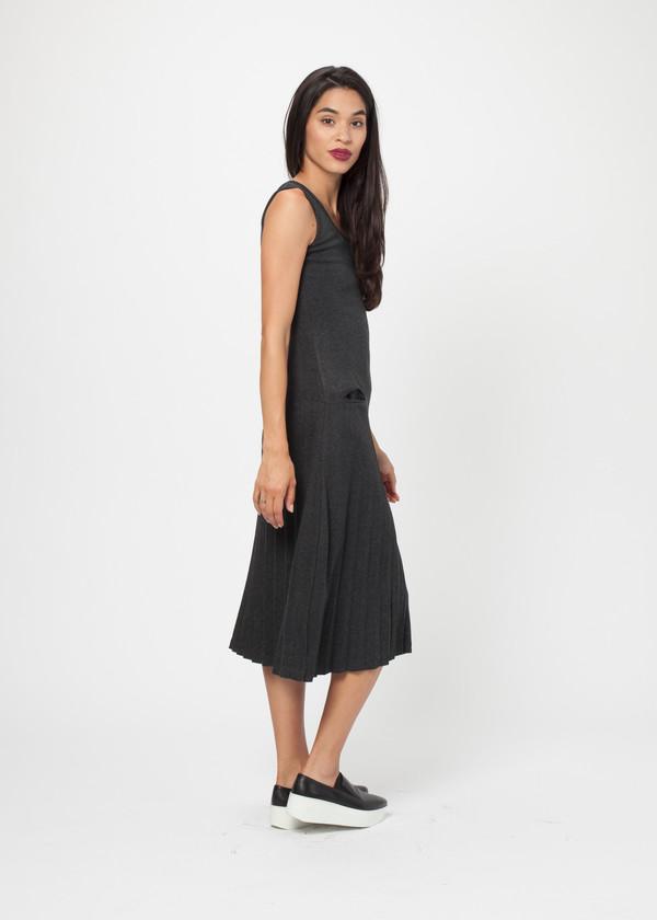 Hazel Brown Pleated Dress