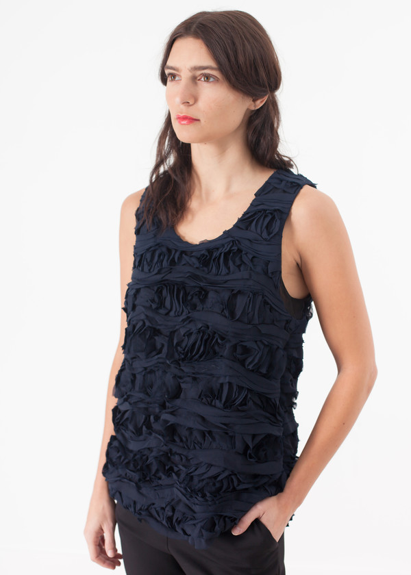 Harvey Faircloth Ruffled Tank Top