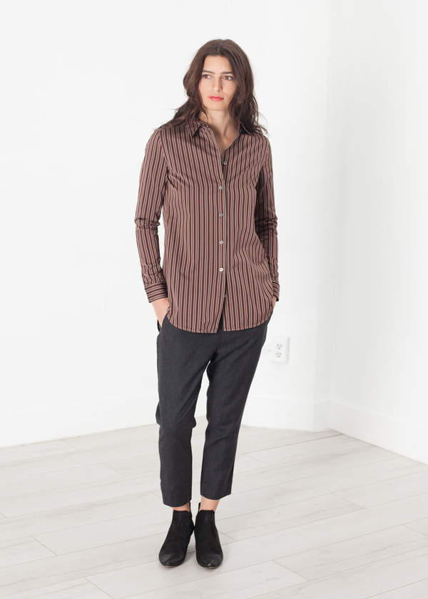 Hache Sheen Button-Up in Red/Tan