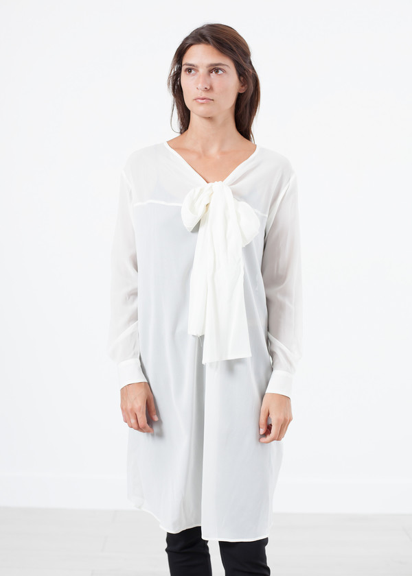 Ter et Bantine Sheer Tie Neck Dress in White