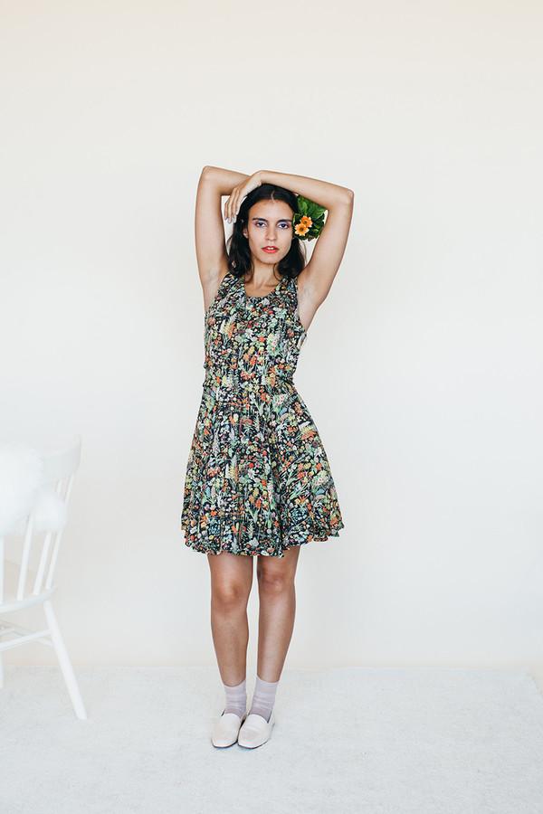 Strata Dress - Black Floral Print