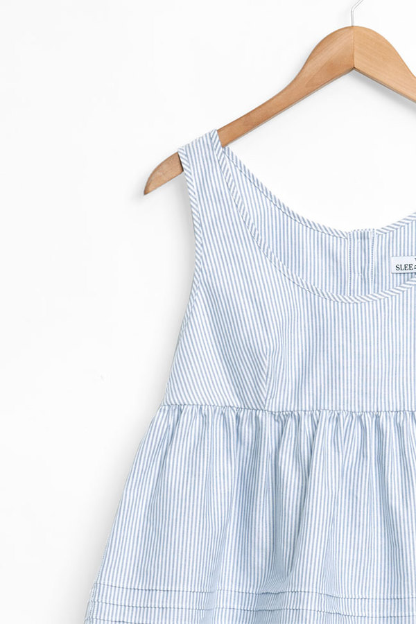 The Sleep Shirt The Babydoll Top Blue Oxford Stripe