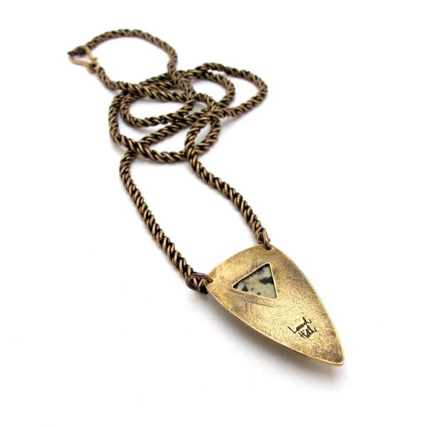 Dalmatian Jasper Solo Shield Necklace