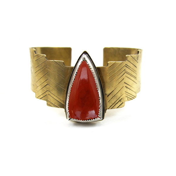 Laurel Hill Shield Cuff // Red Jasper