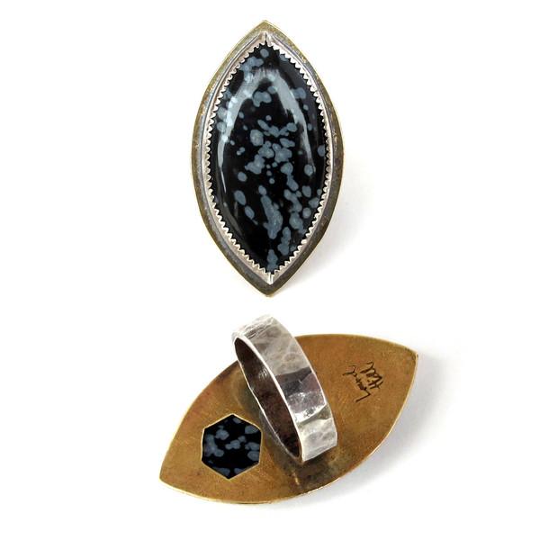 Laurel Hill Snowflake Obsidian Hex Ring