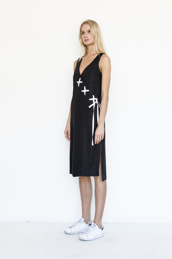 Kahle Lace Up Wrap Dress