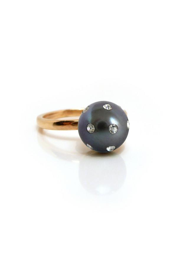 Nektar de Stagni 14K Pearl and Diamond Ladybug Pave Ring