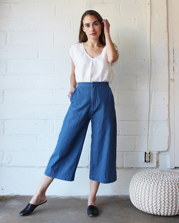 esby AVA CROPPED PANT - DENIM