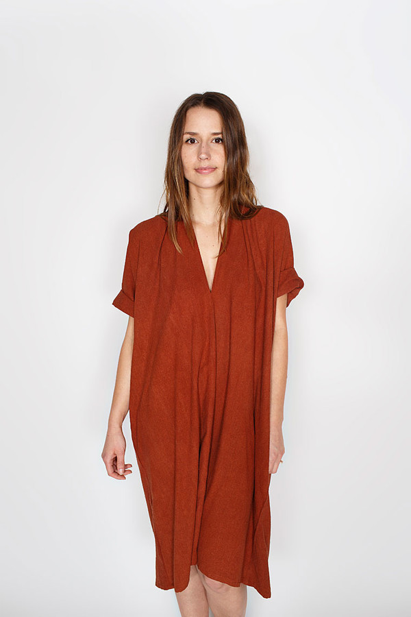 Sale! Rust Muse Dress, Oversized, Silk