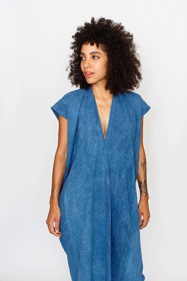 Sale! Indigo Tempest Dress, Silk Noil