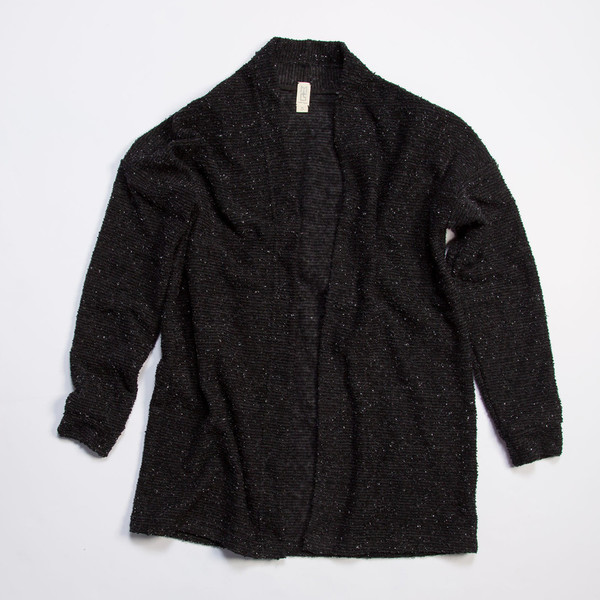 Pebble Knit Cardigan in Black