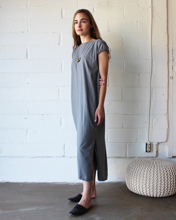 esby TALLULAH TEE DRESS - PEWTER