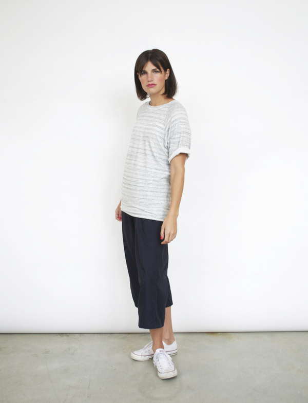 Fifteen-Twenty Stripe Roll Sleeve Tee