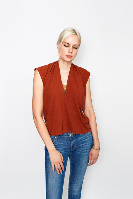 Miranda Bennett Everyday Top, Silk Noil in Rust