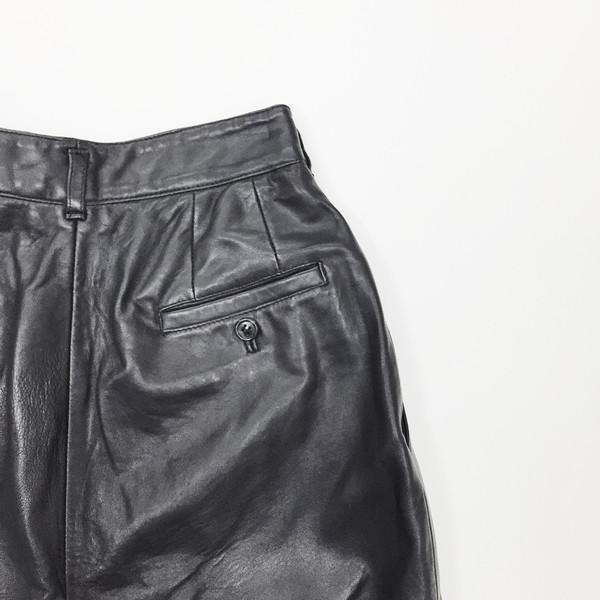 Johan Vintage Black Pleated Leather Pants