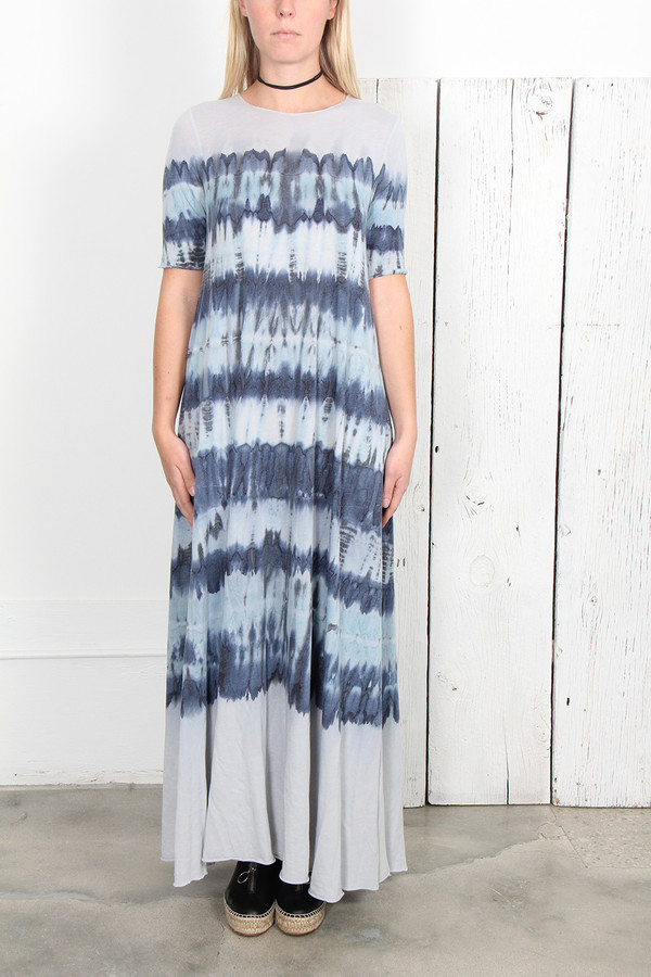 RAQUEL ALLEGRA BLUE TIE DYE JERSEY SHORT SLEEVE MAXI DRESS