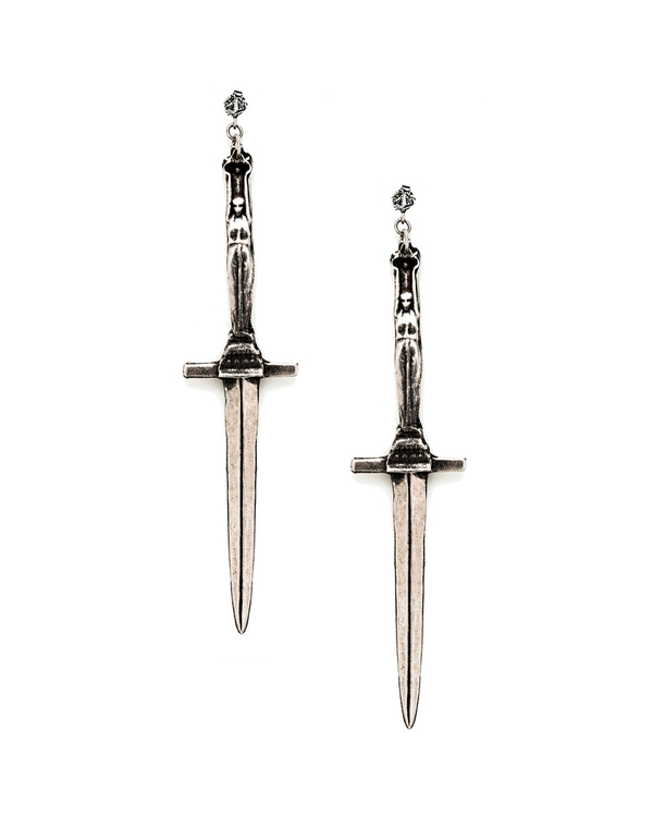 Pamela Love Dagger Earrings in Antique Silver