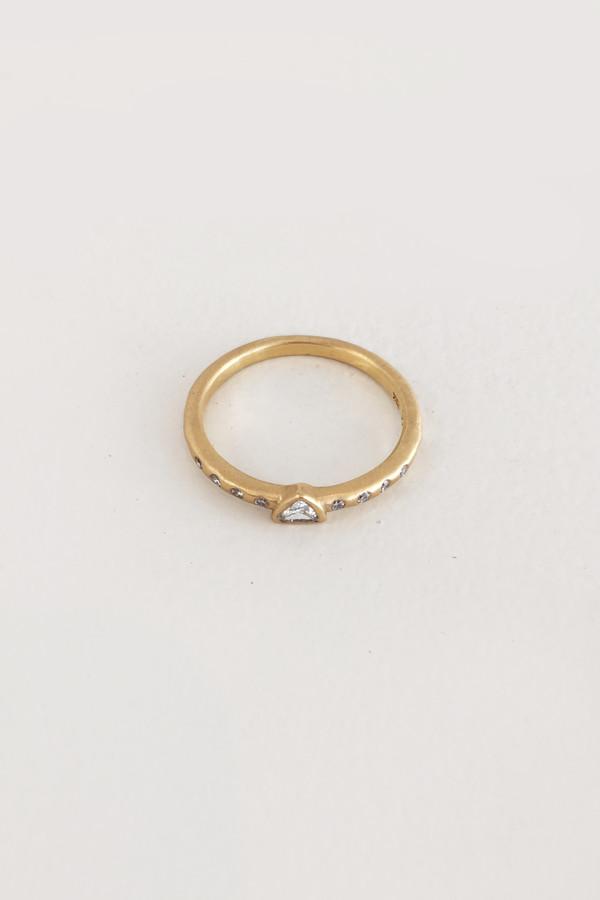 Tony Malmed Diamond and 18k Gold Triangle Stack Ring