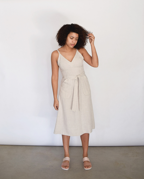 Lush V Linen Dress in Oatmeal