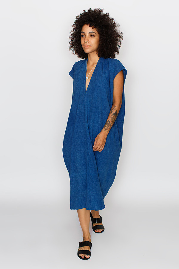 In-Stock: Everyday Dress, Oversized, Silk Noil in Indigo