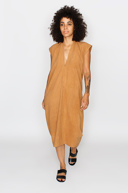 Miranda Bennett Everyday Dress, Silk Noil in Camel