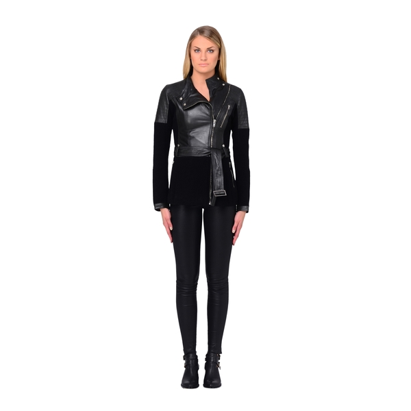 LAMARQUE MANUELLA Wool and Leather Long Biker
